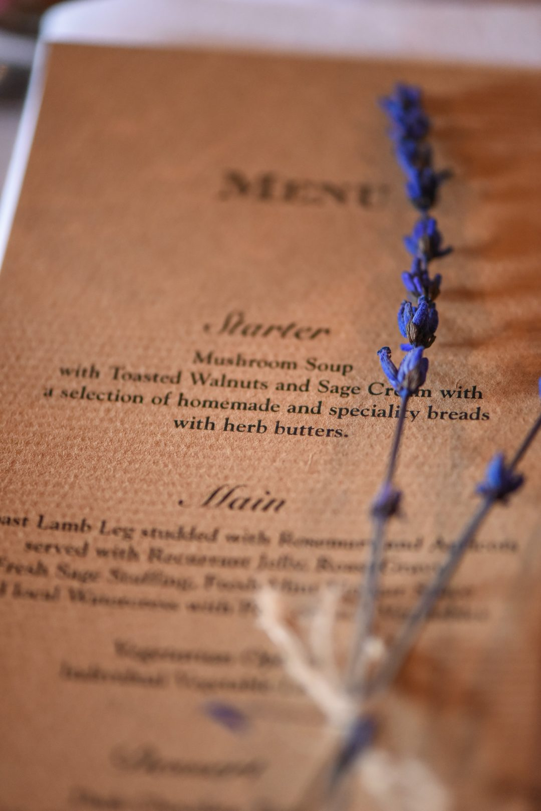 Wedding photography at Preston Court in Canterbury - the menu