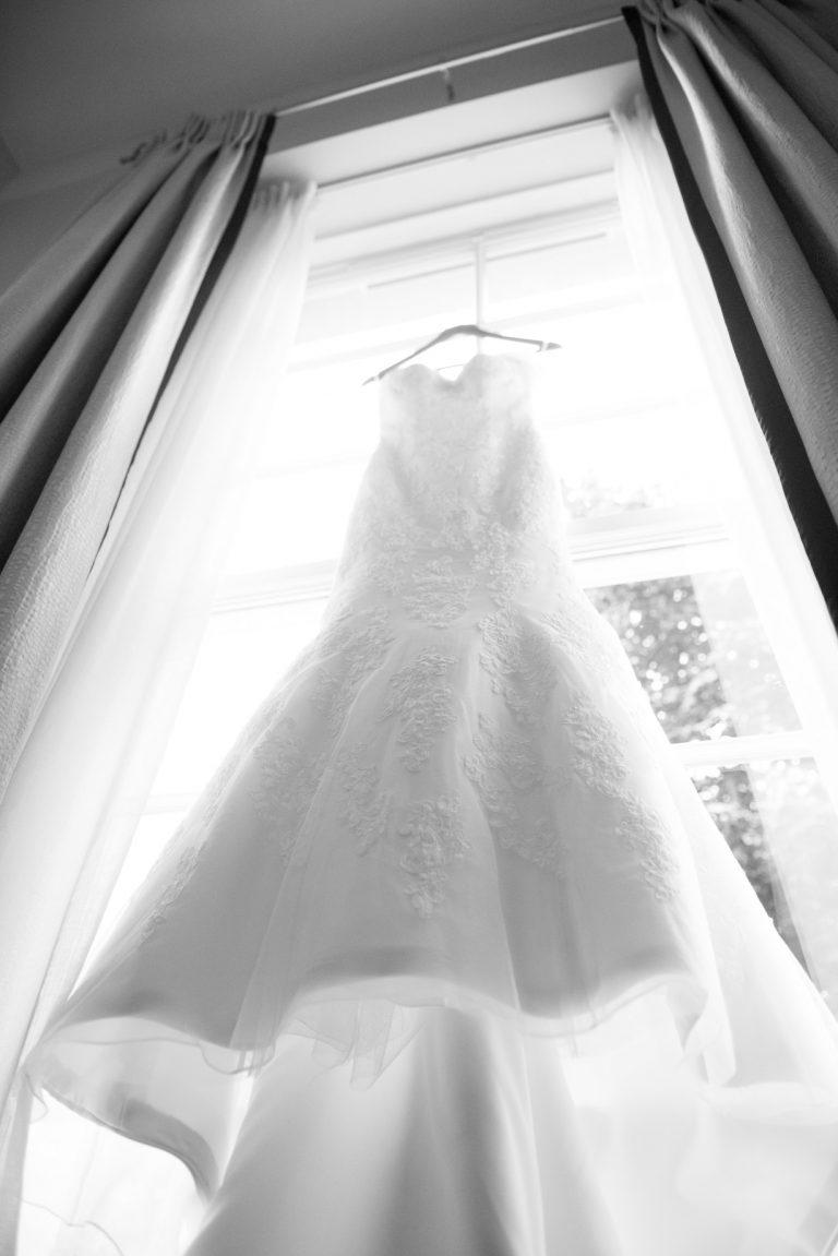 Wedding photography at Tudor Barn in Eltham - the wedding dress