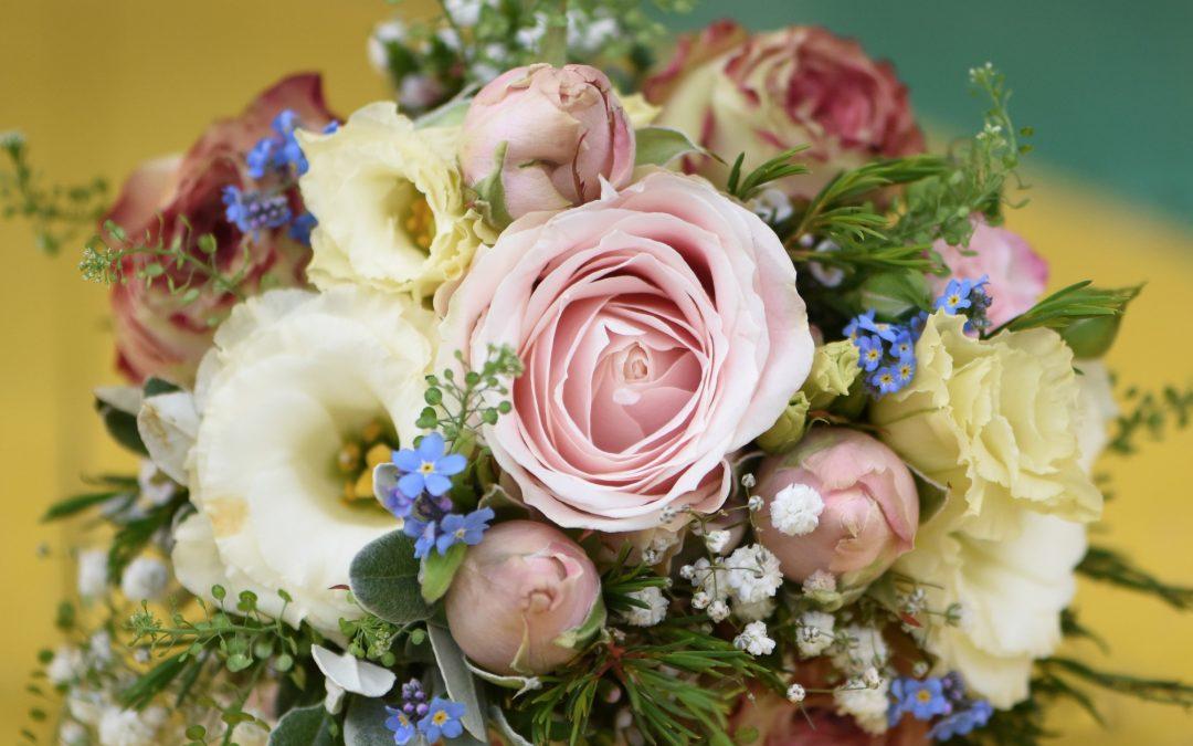 Wedding photography at Preston Court in Canterbury - wedding flowers