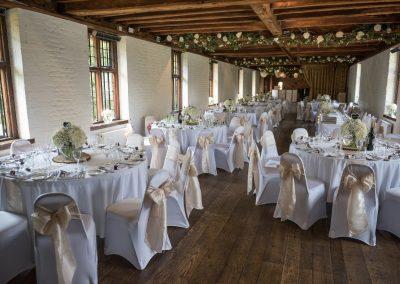 Wedding photography at Tudor Barn in Eltham - the reception venue interior