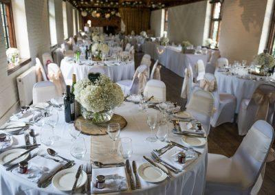 Wedding photography at Tudor Barn in Eltham - table settings