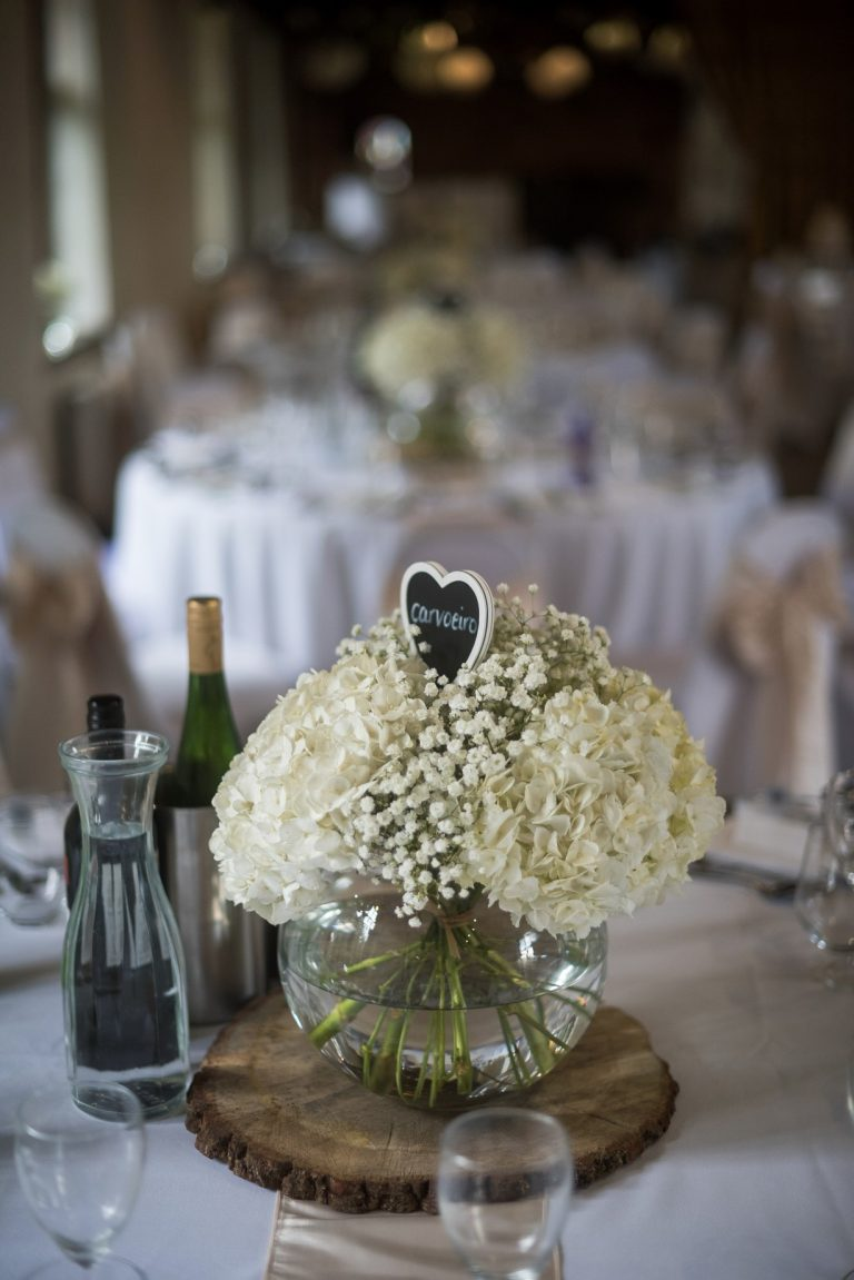 Wedding photography at Tudor Barn in Eltham - the table flowers