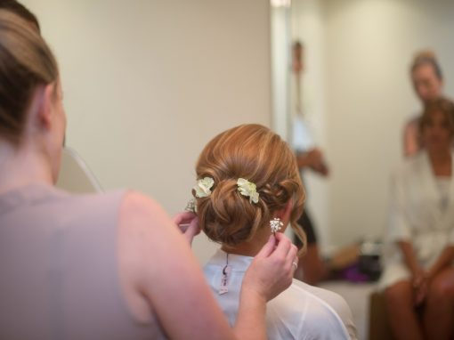 Wedding photography at Farnham Castle in Surrey - bridal preparations