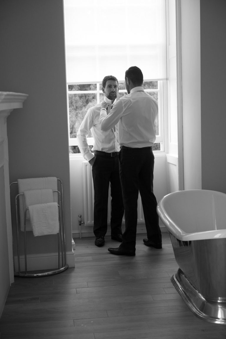 Wedding photography at Farnham Castle in Surrey - the groom preparations