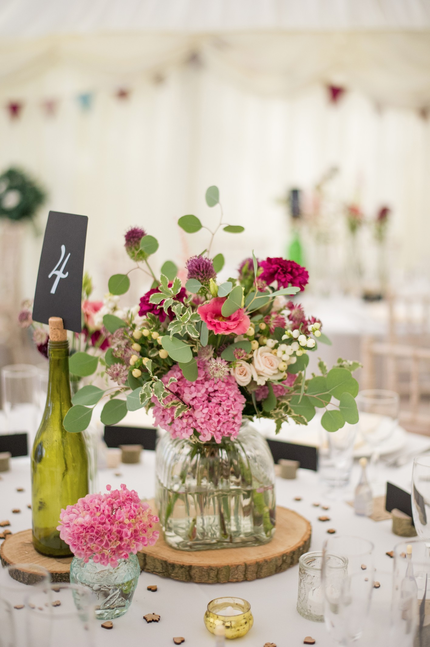 Wedding photography - wedding at Hayne house in Saltwood - table flowers