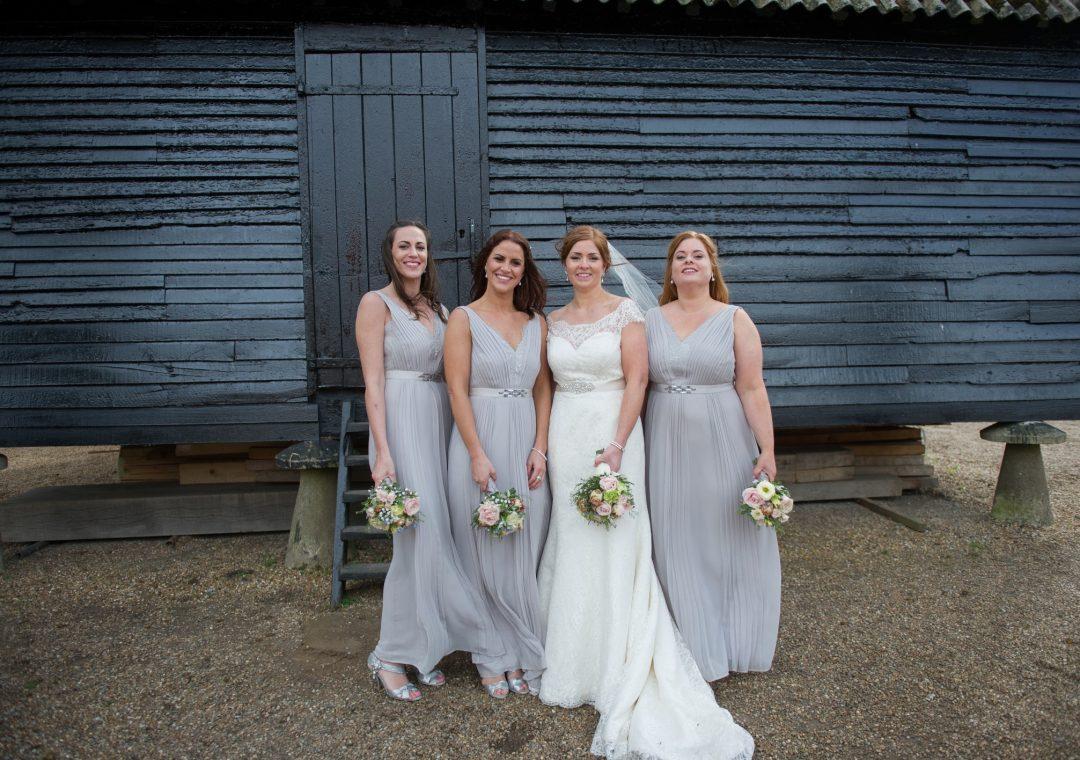 Wedding photography at Preston Court in Canterbury - bride & bridesmaids