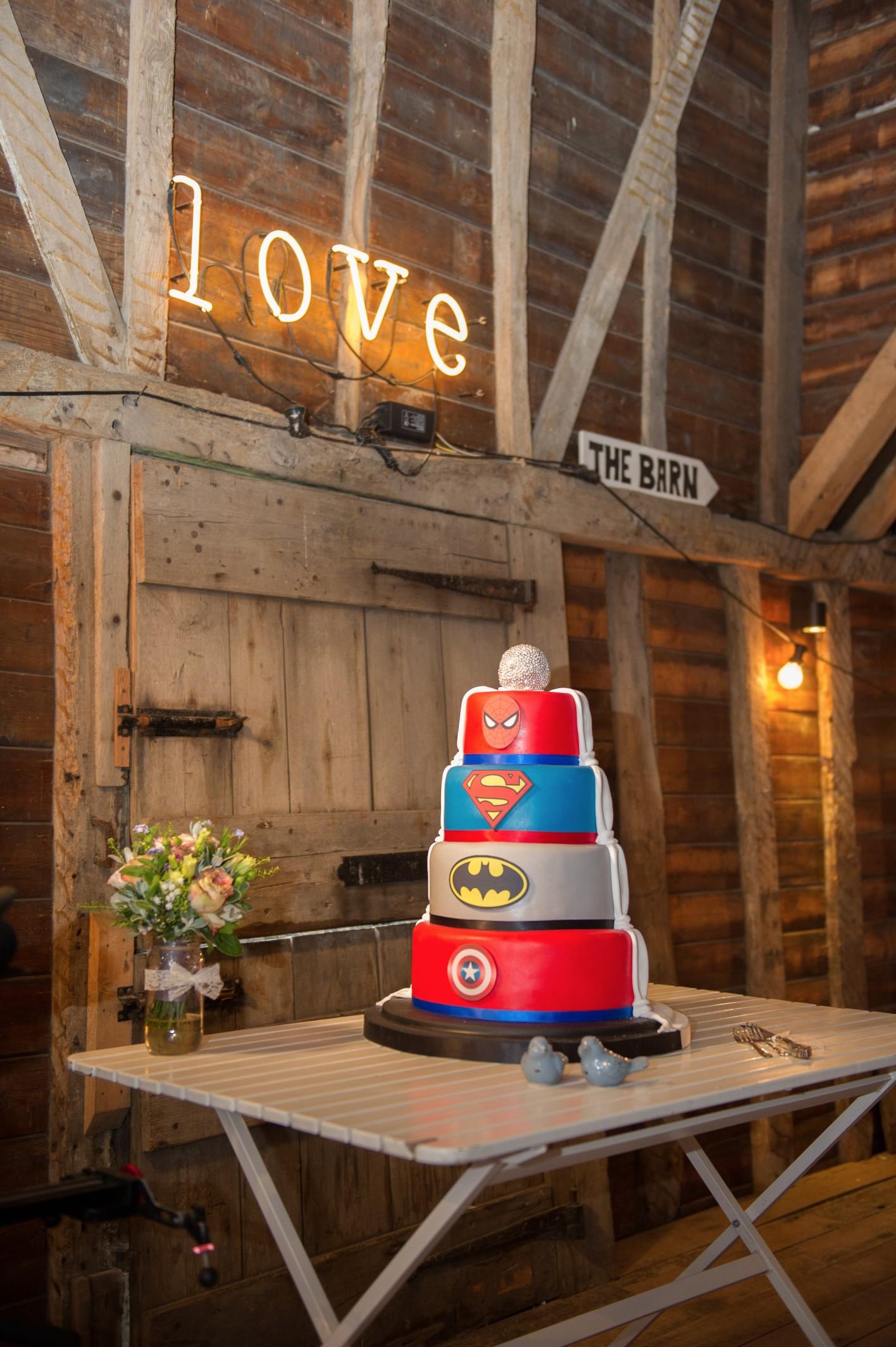 Wedding photography at Preston Court in Canterbury - the wedding cake