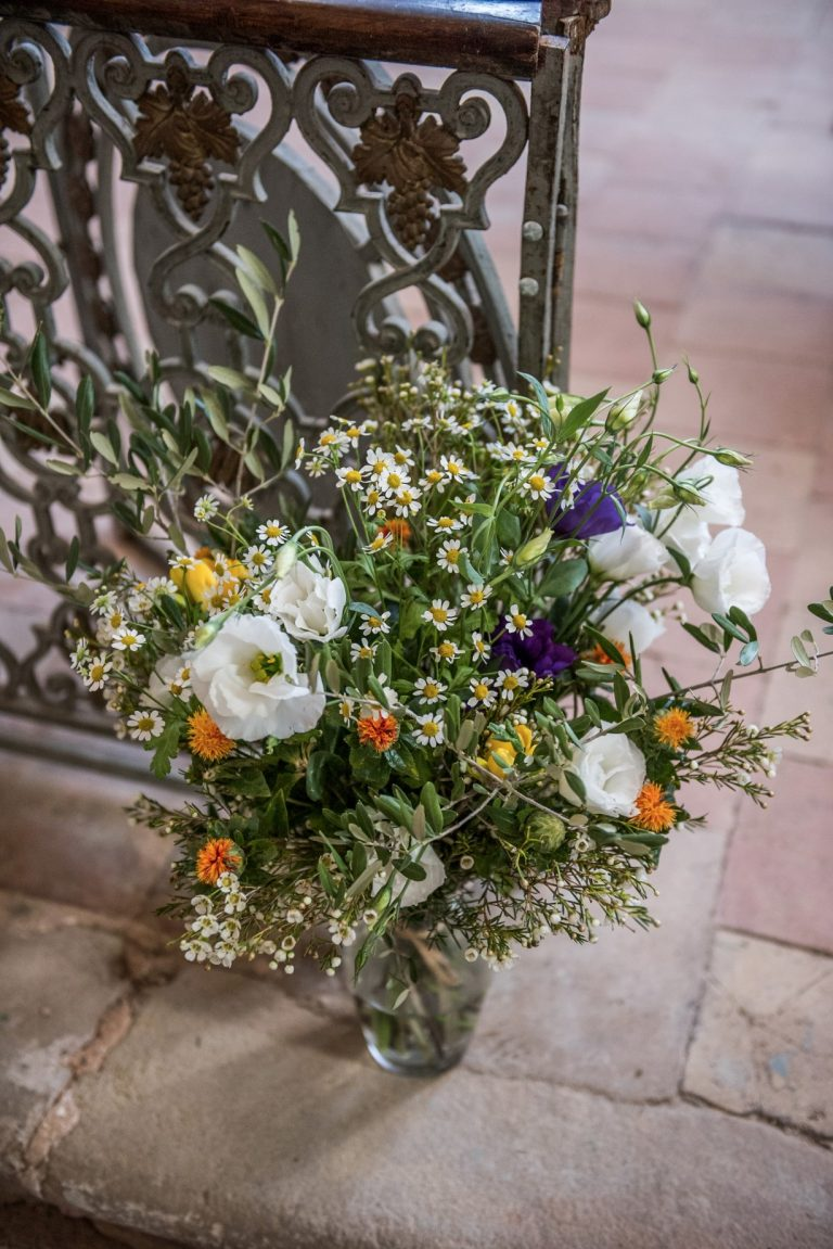 Wedding photography - South of France wedding - church flowers