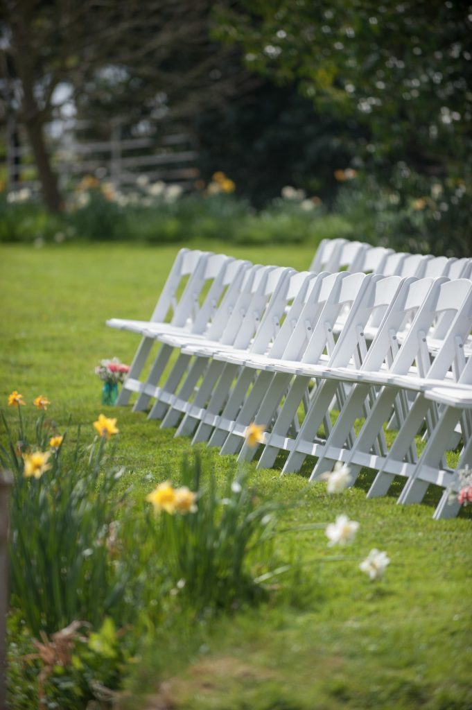 Wedding photography at Preston Court in Canterbury - the ceremony chairs