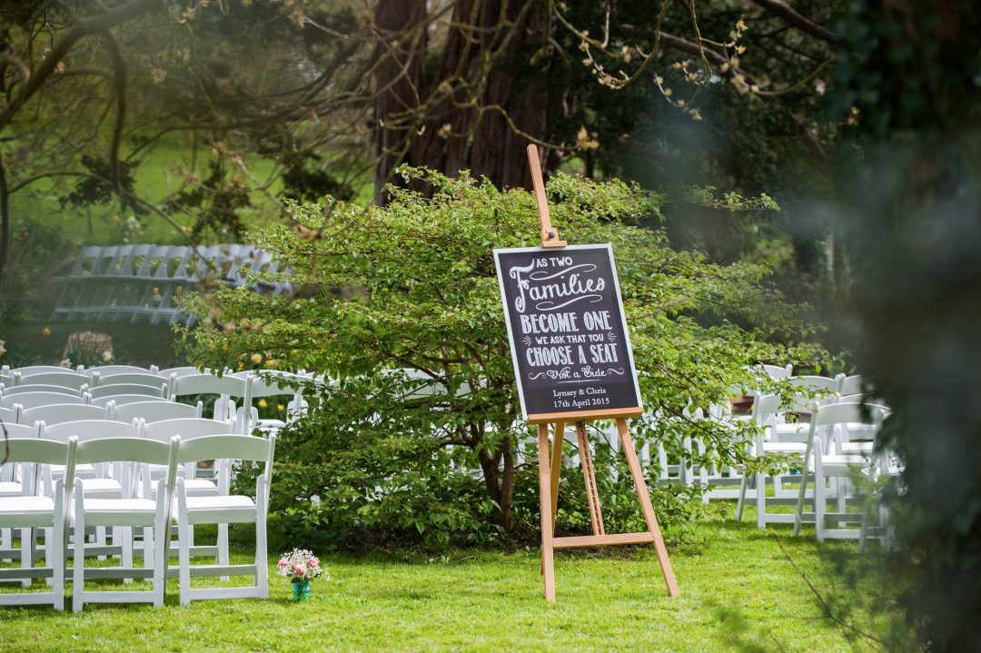 Wedding photography at Preston Court in Canterbury - welcome sign