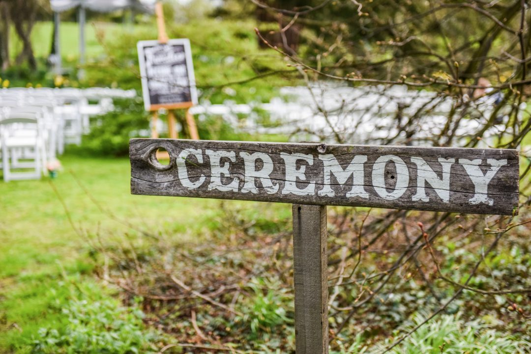 Wedding photography at Preston Court in Canterbury - ceremony sign